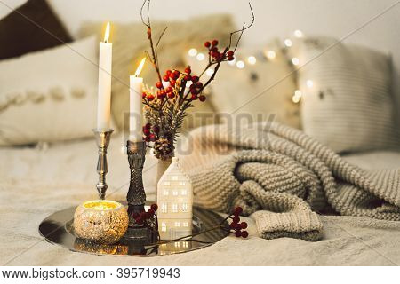 Burning Candles In Living Room. Seasonal Autumn-winter Concept Of A Cozy Home.