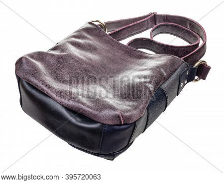 Bottom View Of Handcrafted Leather Crossbody Hobo Bag Isolated On White Background