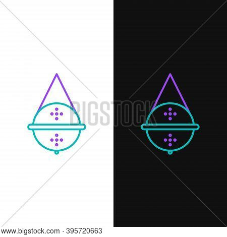 Line Ball Tea Strainer Icon Isolated On White And Black Background. Colorful Outline Concept. Vector