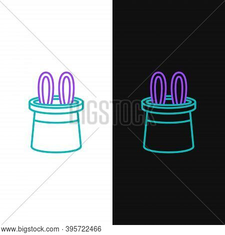 Line Magician Hat And Rabbit Ears Icon Isolated On White And Black Background. Magic Trick. Mystery