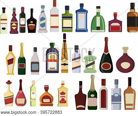 Vector Set Of Bottles Of Alcohol. Isolated On White