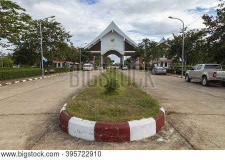 Veunkham, Laos - September 28, 2019: Veunkham Checkpoint In Champasak. This Is Only International Bo