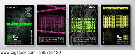 Neon Black Friday Typography Banners, Posters Or Flayers Templates Collection. Creative Synth Wave G