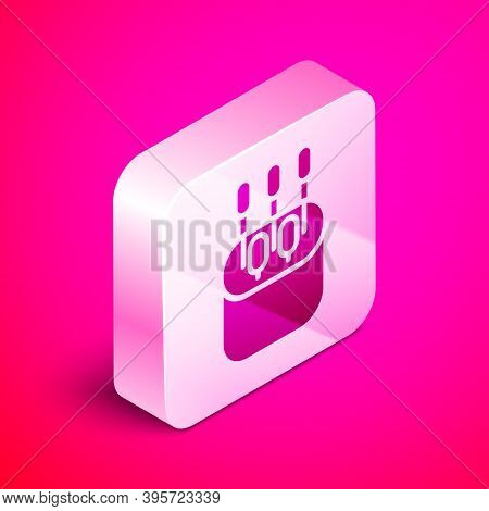 Isometric Cotton Swab For Ears Icon Isolated On Pink Background. Silver Square Button. Vector Illust