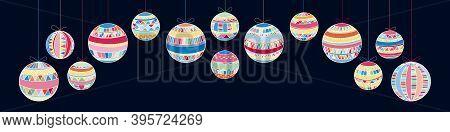Christmas Horizontal Banner Set Of Isolated Colourful Stylised Balls Hanging On Ribbons On Dark Back