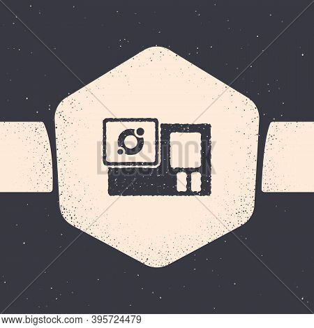 Grunge Action Extreme Camera Icon Isolated On Grey Background. Video Camera Equipment For Filming Ex