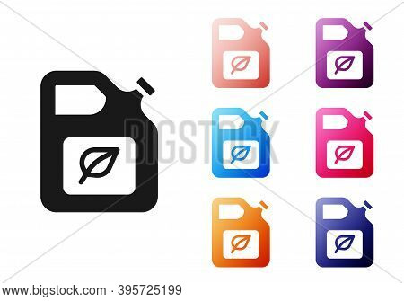 Black Bio Fuel Canister Icon Isolated On White Background. Eco Bio And Barrel. Green Environment And