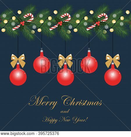 Christmas Card. Vector Image Of Traditional Christmas Decorations. Design Elements For Postcard, Fly