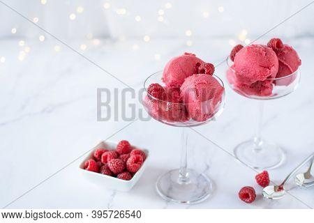 Raspberry Ice Cream In A Glasses On White Table. Summer Refreshing Sorbet.