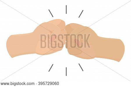 Vector Bro Fist Bump Cartoon Icon Of Two Fight Hands Or Together Punch For Business Clash, Partnersh