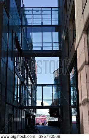 Oslo, Norway - Aug. 29th 2020: Narrow Street With Glass Skybridges In A Modern Part Of Oslo.