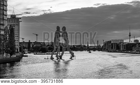 Berlin, Germany - August 26,  2019 - The Famous Molecule Men And River Spree In Berlin (black And Wh