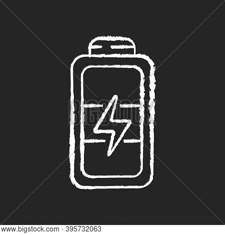Full Battery Chalk White Icon On Black Background. Getting Max Capacity For Full Day. Maximum Power