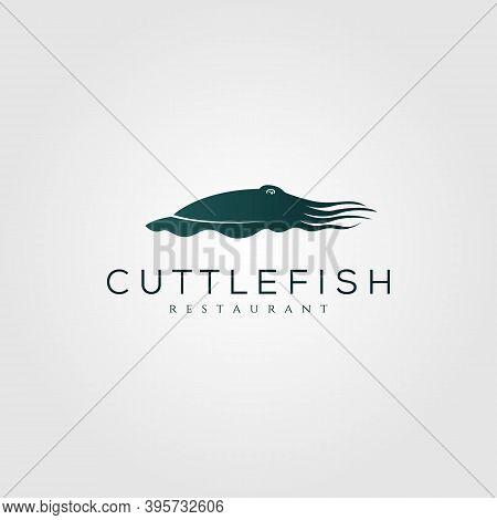 Cuttlefish Logo Vintage Silhouette Vector Illustration Design