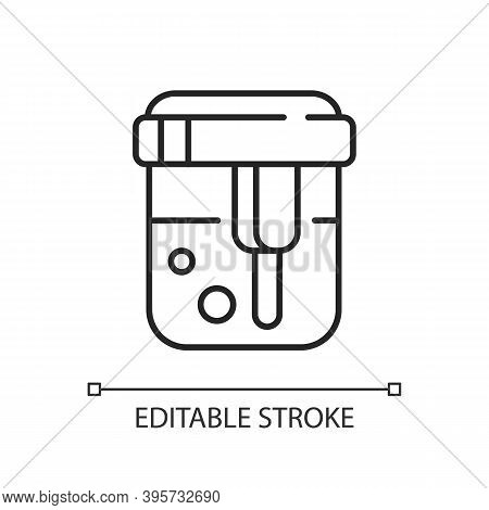 Urine Analysis Linear Icon. Urinalysis Result. Healthcare Checkup. Pee Sample In Container. Thin Lin
