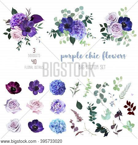 Marvelous Violet, Purple And Burgundy Anemone, Dusty Mauve And Lilac Rose, Hydrangea, Astilbe, Eucal