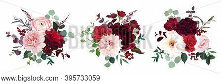 Classic Luxurious Red Roses, Pink Carnation, Ranunculus, Dahlia, White Peony, Berry, Astilbe, Eucaly