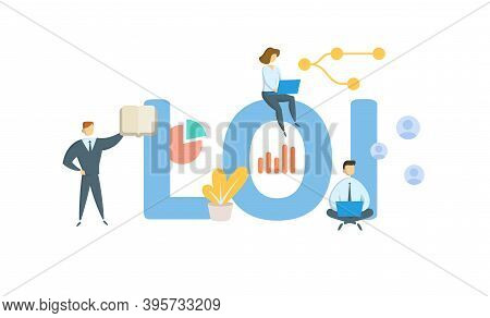 Loi, Letter Of Intent. Concept With Keywords, People And Icons. Flat Vector Illustration. Isolated O