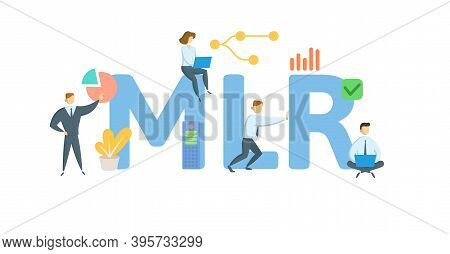 Mlr, Minimum Lending Rate. Concept With Keywords, People And Icons. Flat Vector Illustration. Isolat