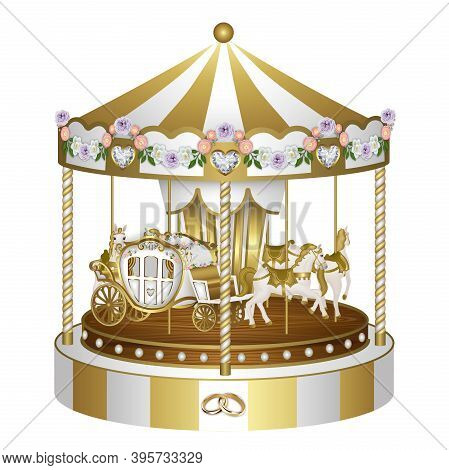 Gold And Withe Carousel With Flowers And Rings For Wedding And Valentine's Day