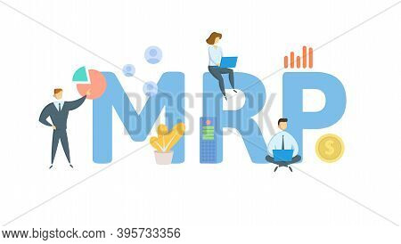 Mrp, Maximum Retail Price. Concept With Keywords, People And Icons. Flat Vector Illustration. Isolat
