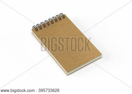 Notebook Mockup With Brown Cover Isolated On White Background - 3d Render