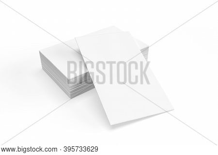 Business Cards Mockup - Stack Of Business Cards Isolated On White Background - 3d Render