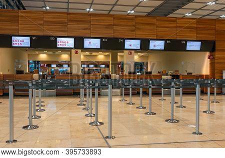 Schönefeld, Germany - November 01, 2020 -  Empty Check-in Counters At The New Berlin Brandenburg Air