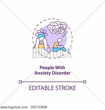 People With Anxiety Disorder Concept Icon. Sad Risk Group Idea Thin Line Illustration. Persistent Wo