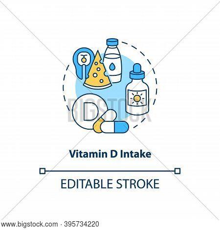 Vitamin D Intake Concept Icon. Sad Treatment Idea Thin Line Illustration. Regulating Immune Function