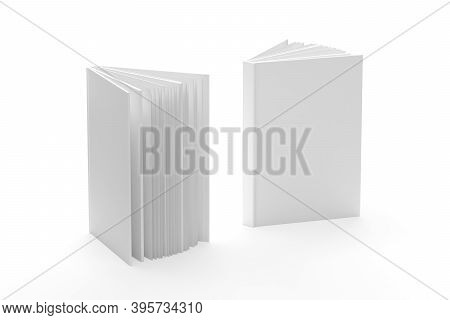 Open Book Mockup Isolated On White Background - 3d Render