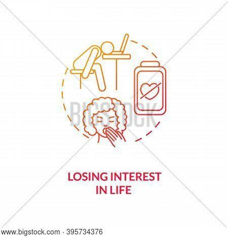 Losing Interest In Life Concept Icon. Sad Symptom Idea Thin Line Illustration. Inability To Feel Ple