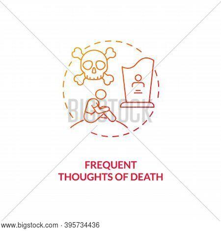 Frequent Death Thoughts Concept Icon. Sad Symptom Idea Thin Line Illustration. Depressed Mood. Post-