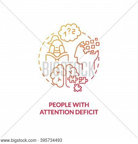 People With Attention Deficit Concept Icon. Sad Risk Group Idea Thin Line Illustration. Difficulty R