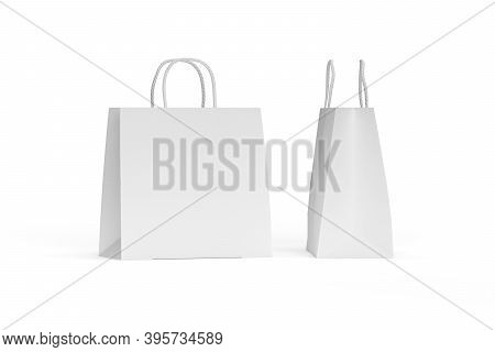 Paper Bag Mockup With String Handle Isolated On White Background - 3d Render