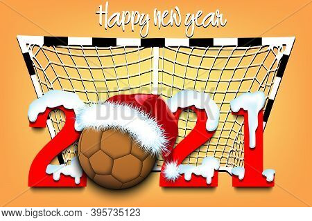 Snowy New Year Numbers 2021 And Handball Ball In A Christmas Hat On The Background Of The Gate. Crea