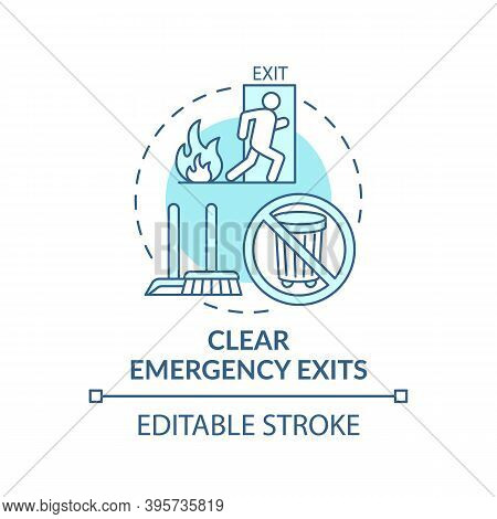 Clear Emergency Exits Concept Icon. Workplace Safety Elements. Keep Fire Exit Ways Clear From Obstru