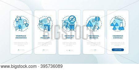 Workplace Safety Concerns Onboarding Mobile App Page Screen With Concepts. Noise Pollution Walkthrou