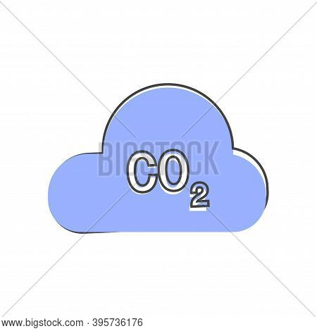Carbon Dioxide Vector Icon Cartoon Style On White Isolated Background.