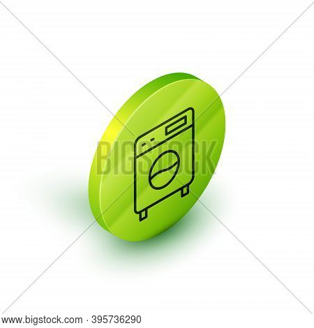 Isometric Line Washer Icon Isolated On White Background. Washing Machine Icon. Clothes Washer - Laun