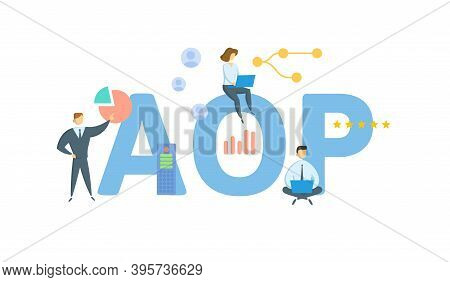 Aop, Annual Operating Plan. Concept With Keywords, People And Icons. Flat Vector Illustration. Isola