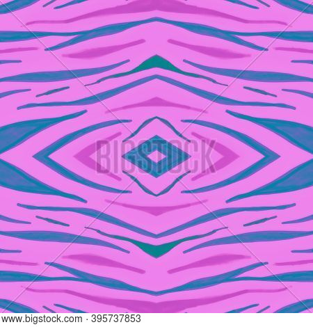 Seamless Zebra Print. Fashion Tiger Texture. Bright Watercolor Stripes. Seamless Wildlife Wallpaper.