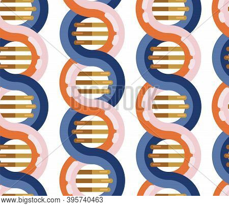 Dna Molecule Seamless Vector Background. Repeating Pattern Spiral Genetic Dna Strands Medical Icon.