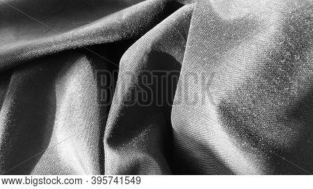 Black Fabric With Interlacing Threads Close-up. Black And White Monochrome Photography. Nice Beautif