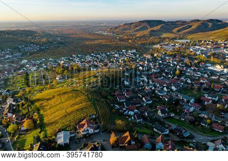 Colorful Landscape Aerial View Of Little Village Kappelrodeck In Black Forest Mountains. Beautiful M