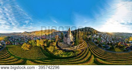 Colorful Landscape 360-degree Panoramic Aerial View Of Little Village Kappelrodeck In Black Forest M