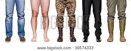 detail of different legs isolated on white background