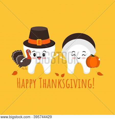Thanksgiving Tooth Boy And Girl In Pilgrim Hat With Pumpkin And Turkey In Hand. White Teeth In Carni