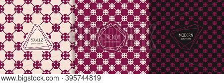 Vector Geometric Floral Seamless Pattern Collection With Stylish Minimal Labels. Elegant Texture In