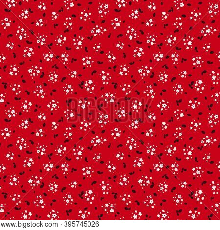 Vector Seamless Pattern With Small White Pretty Flowers And Black Leaves On Red Backdrop. Liberty St